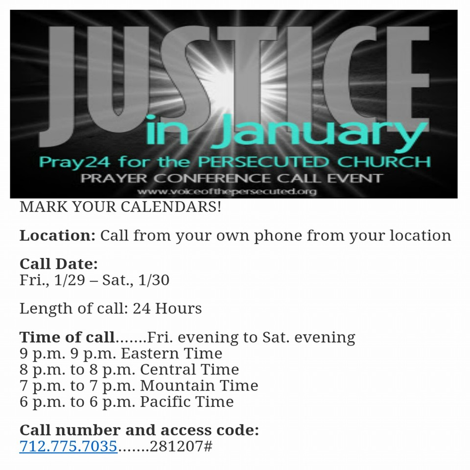 Justice In January Praying For The Persecuted Church